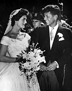Onassis Framed Prints - Jacqueline Kennedy And John F. Kennedy Framed Print by Everett