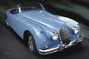 Kirkland Prints - Jaguar XK 150 In Blue Print by Curt Johnson