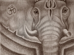 Hindu Drawings Posters - Jai Ganesh Poster by Adam Wood