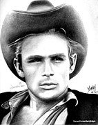 James Dean Posters Drawings Prints - James Dean Print by Celebrity Portrait Art by Steve Baker Sanfellipo
