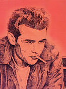 Cool Drawings Prints - James Dean Print by Debbie McIntyre
