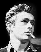 Cards Vintage Pastels Framed Prints - James Dean Framed Print by Roly D Orihuela