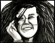 Janis Joplin Drawings - Janis Joplin by Linda  Gehrt