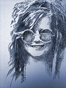 Music Drawings Framed Prints - Janis Joplin Framed Print by Robbi  Musser