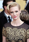 Gold Dress Framed Prints - January Jones Wearing A Carolina Framed Print by Everett
