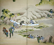 Period Framed Prints - Japan: Cotton Processing Framed Print by Granger