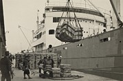Textiles Photos - Japanese Longshoremen Loading Bundles by Everett