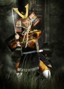 Japanese Fighter Posters - Japanese Samurai Doll Poster by Christine Till - CT-Graphics