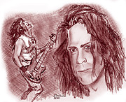 Metallica Drawings - Jason Newsted by Chris  DelVecchio