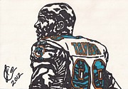 Player Drawings Posters - Jason Taylor Poster by Jeremiah Colley