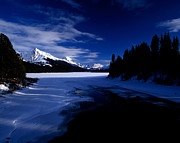 Maligne Lake Framed Prints - Jasper - Maligne Lake In Winter Framed Print by Terry Elniski