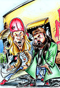 Big Mike Roate Drawings Framed Prints - Jay and Silent Bob Framed Print by Big Mike Roate