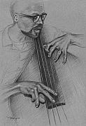 Bass Player Drawings Posters - Jazz Bass Poster by Tim Bailey