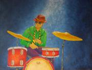 Cymbals Painting Posters - Jazz Drummer Poster by Pamela Allegretto