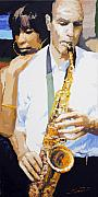 Jazz Muza Saxophon Print by Yuriy  Shevchuk