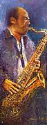 Jazz Metal Prints - Jazz Saxophonist Metal Print by Yuriy  Shevchuk
