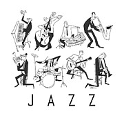 Jazz Digital Art Posters - Jazz Poster by Sean Hagan
