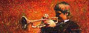 Jazz Paintings - Jazz Trumpeter by Yuriy  Shevchuk