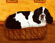 English Cocker Spaniel Posters - JD in the Cat Bed Poster by Sue Martin