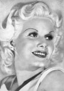 Harlow Drawings Framed Prints - Jean Harlow Framed Print by Karen  Townsend