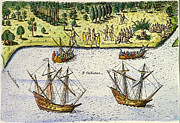 Timucua Framed Prints - Jean Ribault: Florida, 1562 Framed Print by Granger