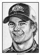 Baseball Drawings Posters - Jeff Gordon in 2010 Poster by J McCombie