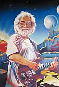 Dead Heads Drawings - Jerry garcia Live at the Mars Hotel by Joshua Morton