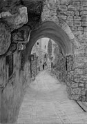 Urban Scene Drawings Framed Prints - Jerusalem old street Framed Print by Marwan Hasna - Art Beat