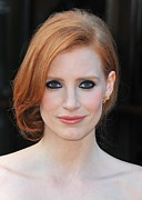 Gold Earrings Framed Prints - Jessica Chastain At Arrivals For The Framed Print by Everett