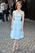 Strapless Dress Metal Prints - Jessica Chastain Wearing A Christian Metal Print by Everett