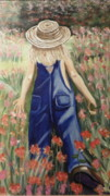 Tom Boy Painting Posters - Jessicas Flowers Poster by Gale H Rogers