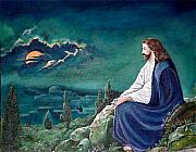 Jerusalem Paintings - Jesus Praying by Terri Flowers