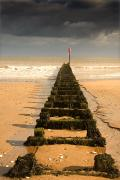 Beach Scenes Photos - Jetty On Beach, Yorkshire, England by John Short