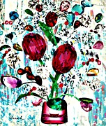 Vase Mixed Media Posters - Jewel Bouquet Poster by Sarah Loft