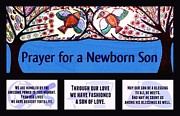 Invitations Paintings - Jewish Prayer For A Newborn Son Blue Tree Of Life by Sandra Silberzweig