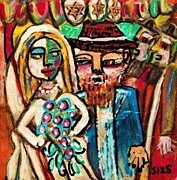 Invitations Paintings - Jewish Wedding Under The Chuppah by Sandra Silberzweig
