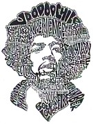 Voodoo Drawings Prints - Jimi Hendrix Black and White Word Portrait Print by Kato Smock