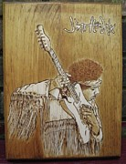 Jimi Hendrix Pyrography - Jimi Hendrix  by Bob Renaud