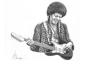 Music Drawings Originals - Jimi Hendrix by Murphy Elliott