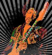 Rock N Roll Digital Art - Jimi Hendrix by RJ Aguilar