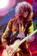 Jimmy Page Posters - Jimmy Page Les Paul Gibson Poster by David Lloyd Glover