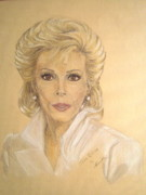 Celebrity Pastels Framed Prints - Joan Framed Print by Nancy Rucker