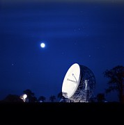 Moonlit Night Photo Prints - Jodrell Bank Observatory Print by Richard Kail