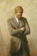 President  Painting Framed Prints - John F Kennedy Framed Print by War Is Hell Store