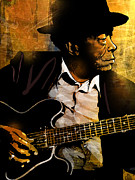 Musician Greeting Cards Paintings - John Lee Hooker by Paul Sachtleben