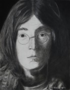 Beatles Drawings - John Lennon by Jessica Hallberg