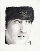 Charcoal Portrait Posters - John Lennon Poster by Rosalinda Markle