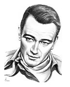 Movies Drawings Originals - John Wayne by Murphy Elliott