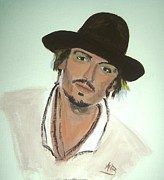Actors Painting Originals - Johnny Depp by Marie Bulger