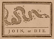 Us Flag Mixed Media Prints - Join or Die Print by War Is Hell Store